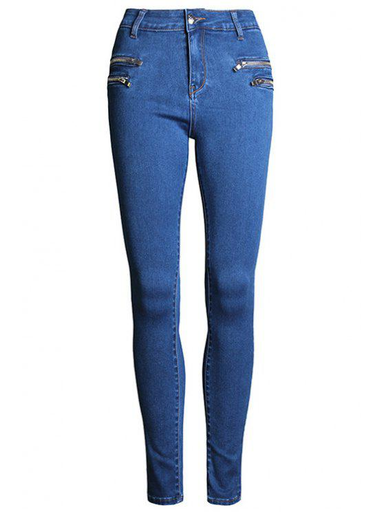 fancy Pure Color High Waisted Zipper Jeans - DEEP BLUE 44