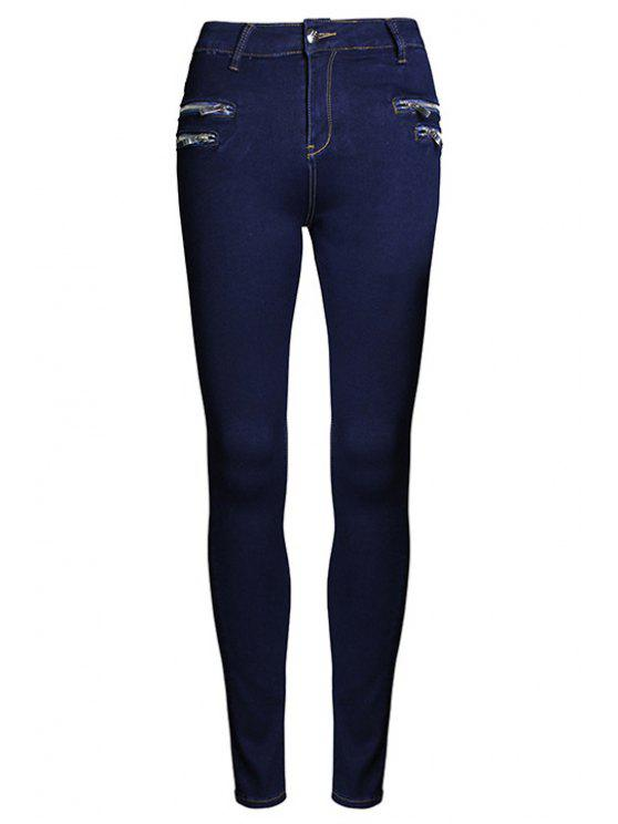 new Pure Color High Waisted Zipper Jeans - PURPLISH BLUE 44