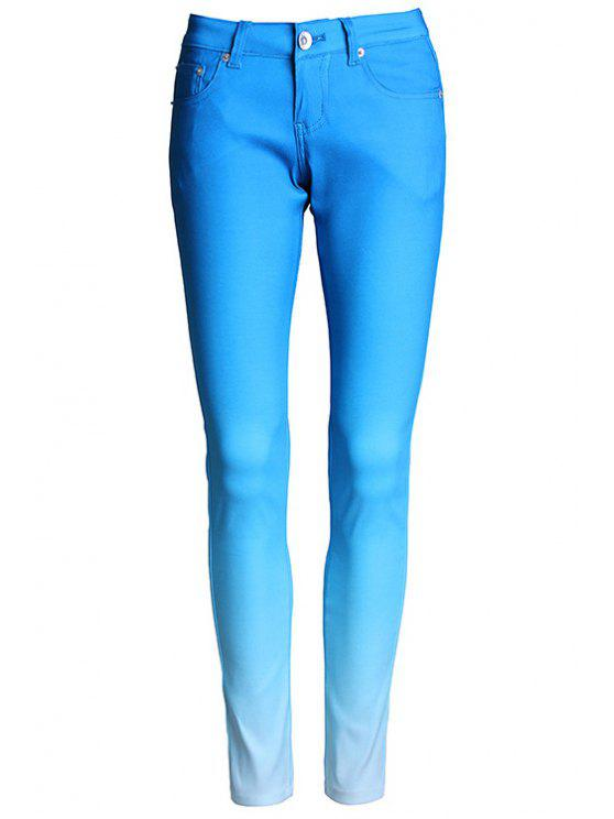 hot Ombre Color Narrow Feet Pants - BLUE S