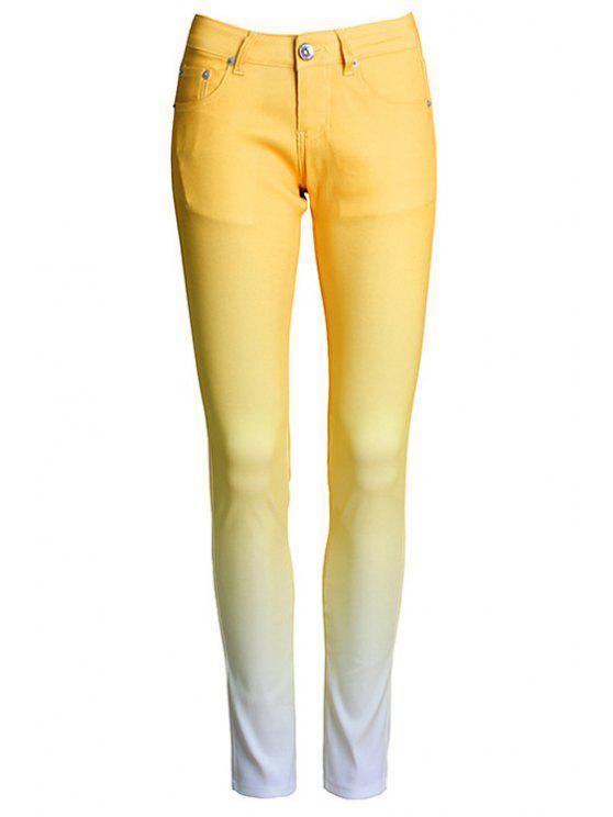 womens Ombre Color Narrow Feet Pants - YELLOW L