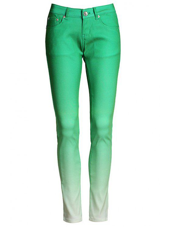 ladies Ombre Color Narrow Feet Pants - GREEN M