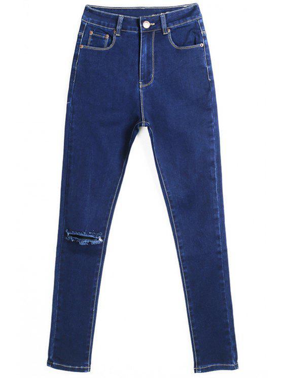 women's Hole High Waisted Skinny Jeans - DEEP BLUE 44