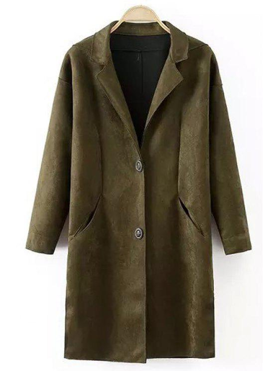 buy Lapel Pocket Design Suede Coat - BLACKISH GREEN S