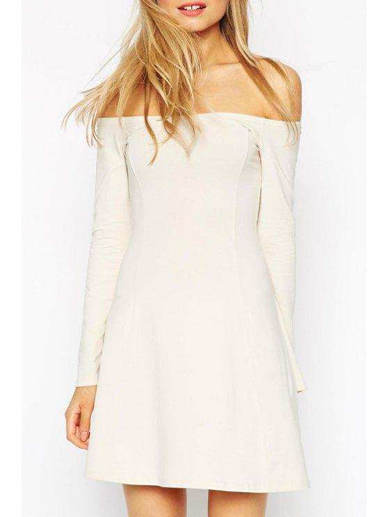 hot Off-The-Shoulder Swing Dress - MILK WHITE S