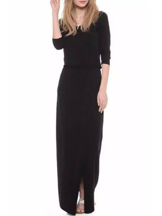 shop High Slit Solid Color Maxi Dress - BLACK S