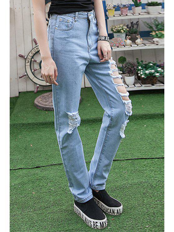 online Hole High Waisted Narrow Feet Jeans - LIGHT BLUE 38