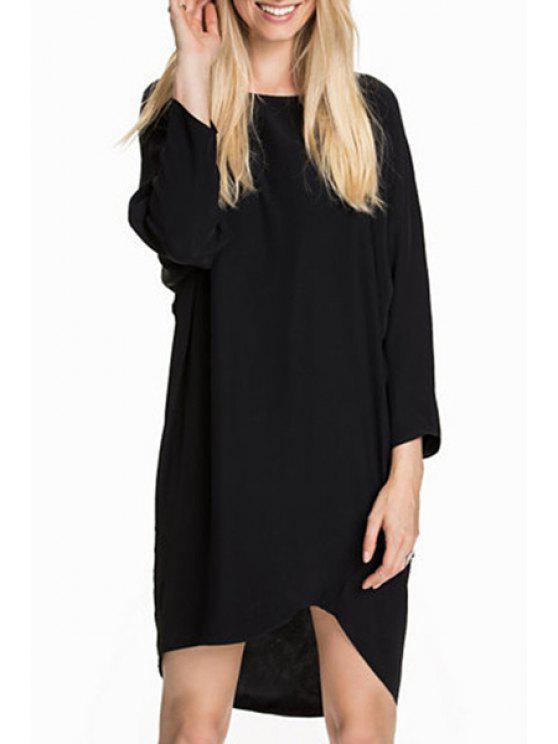 fancy Irregular Hem Black Chiffon Dress - BLACK M