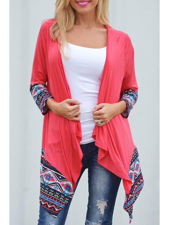 women's Ethnic Pattern Asymmetric Thin Coat - RED S