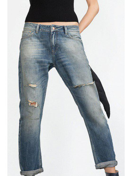 outfits Hole Straight Leg Vintage Jeans - LIGHT BLUE S