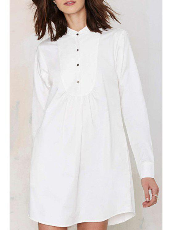 hot White Stand Neck Long Sleeve Shirt Dress - WHITE M
