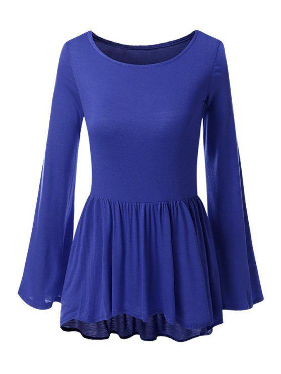 chic Bell Sleeve Solid Color Peplum T-Shirt - DEEP BLUE S