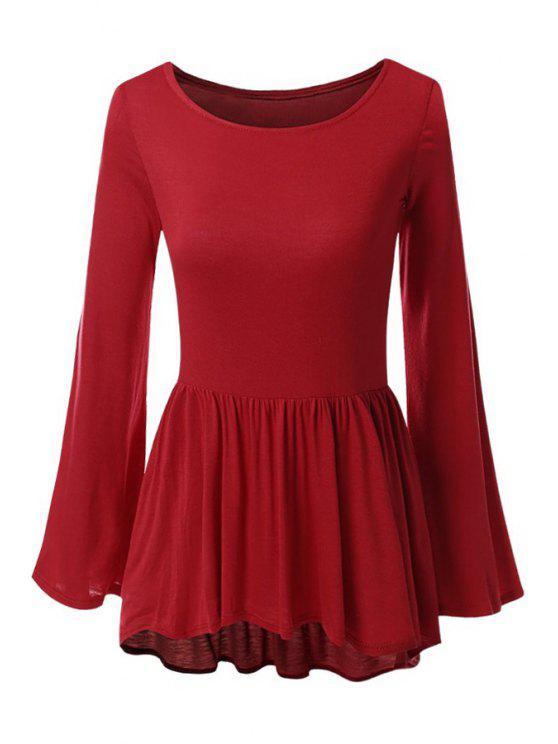 women Bell Sleeve Solid Color Peplum T-Shirt - RED XL