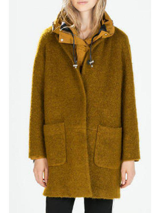 outfits Pure Color Round Neck Worsted Coat - GINGER S