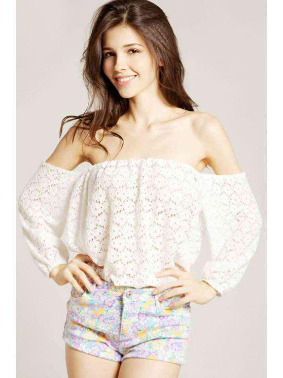 shop Off-The-Shoulder Lace Blouse - OFF-WHITE S