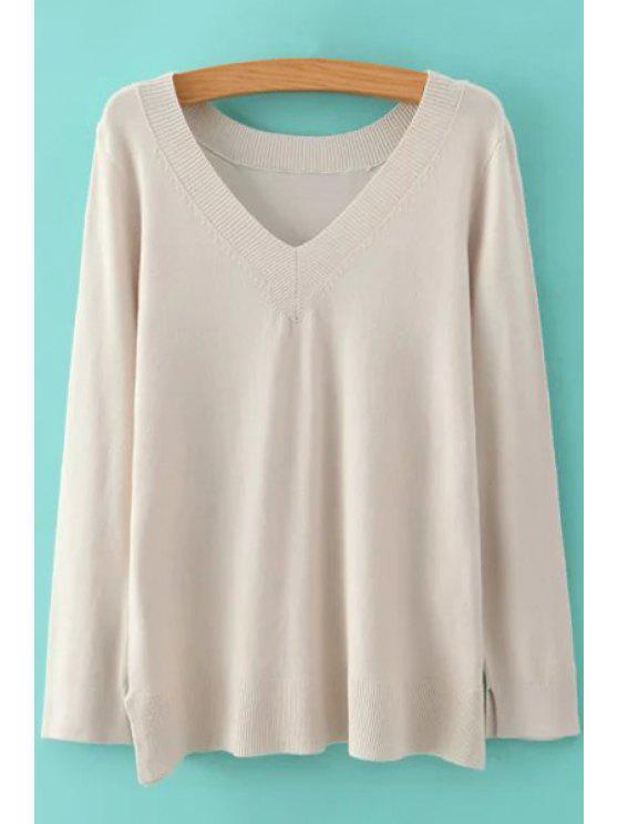 online Pure Color V Neck Long Sleeve Jumper - OFF-WHITE L