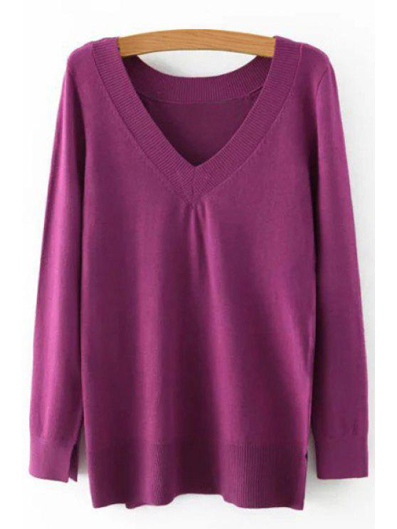 new Pure Color V Neck Long Sleeve Jumper - PURPLE S