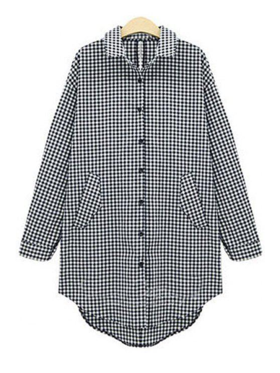 trendy Single-Breasted Plaid Boyfriend Shirt - WHITE AND BLACK XL