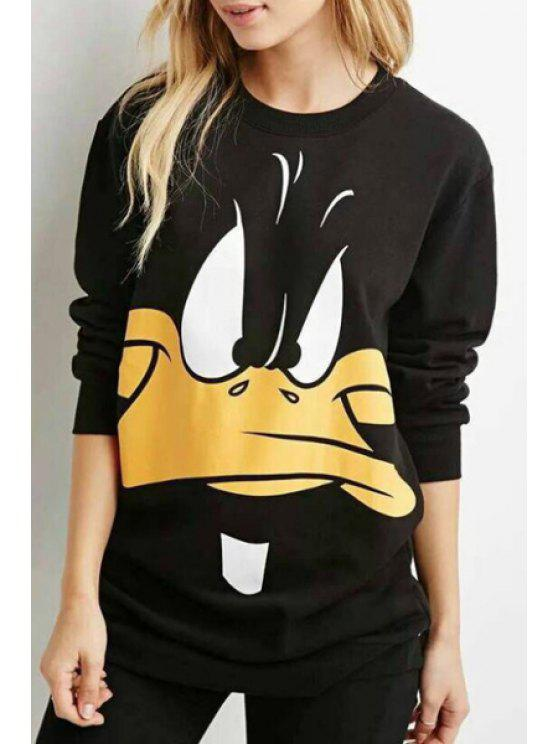 latest Cartoon Duck Print Long Sleeve Sweatshirt - BLACK S