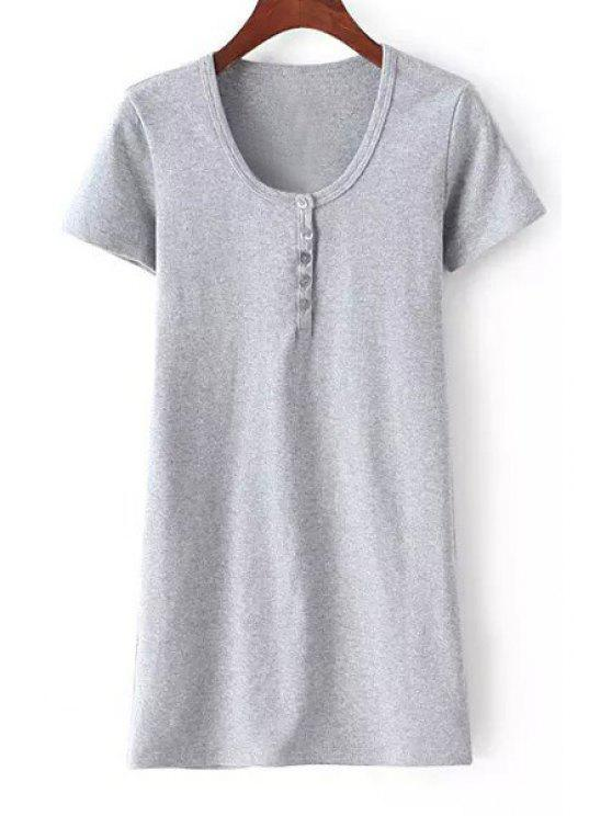 shops Solid Color Short Sleeves Round Button Collar Dress - GRAY S