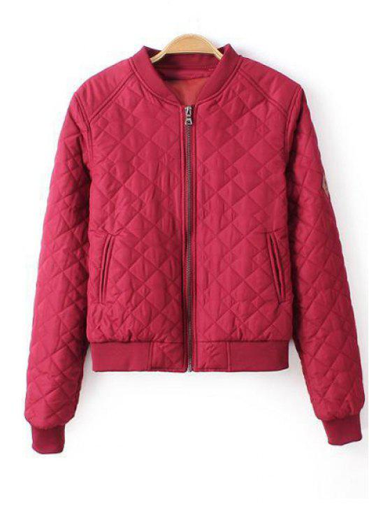 lady Pure Color Stand Neck Baseball Jacket - ROSE S