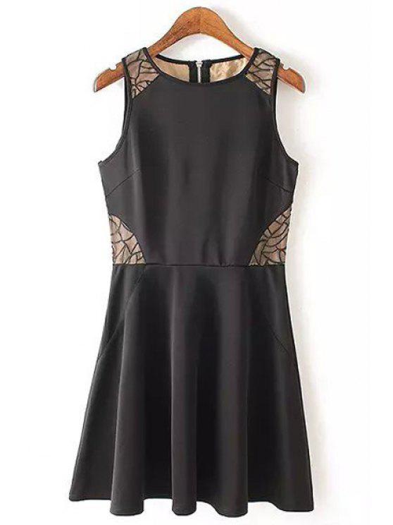 shop Lace Splicing Scoop Collar Sundress - BLACK S