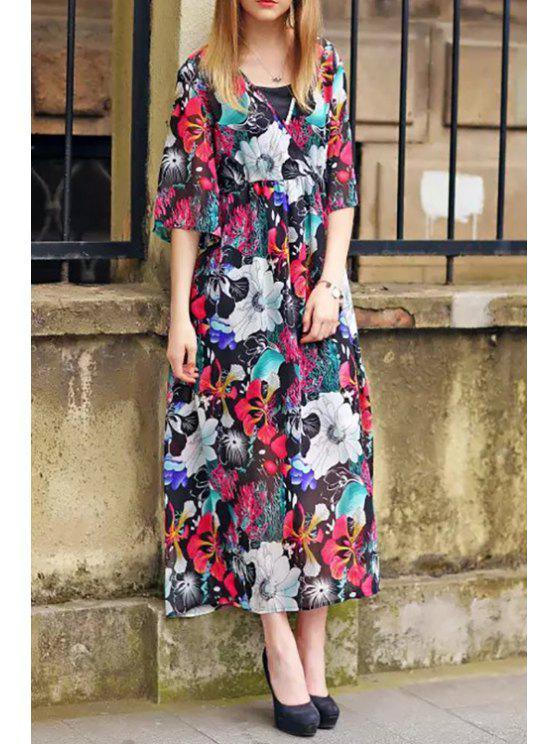 latest Floral Print V-Neck Half Sleeves Dress - COLORMIX S