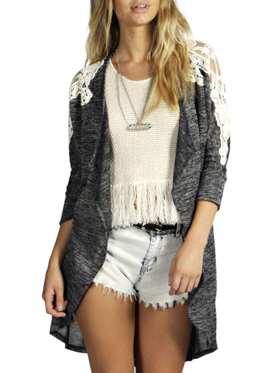 online Open Front Lace Spliced Thin Coat - GRAY S