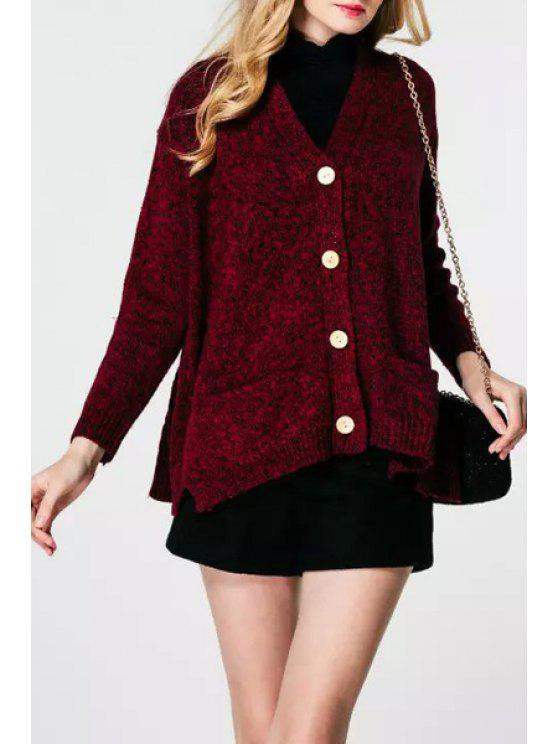 latest Pure Color V Neck Long Sleeves Cardigan - WINE RED ONE SIZE(FIT SIZE XS TO M)