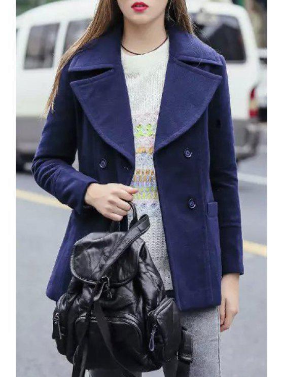 chic Double-Breasted Lapel Long Sleeve Coat - PURPLISH BLUE S