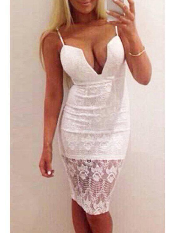 online Sleeveless Crochet Flower White Lace Dress - WHITE M