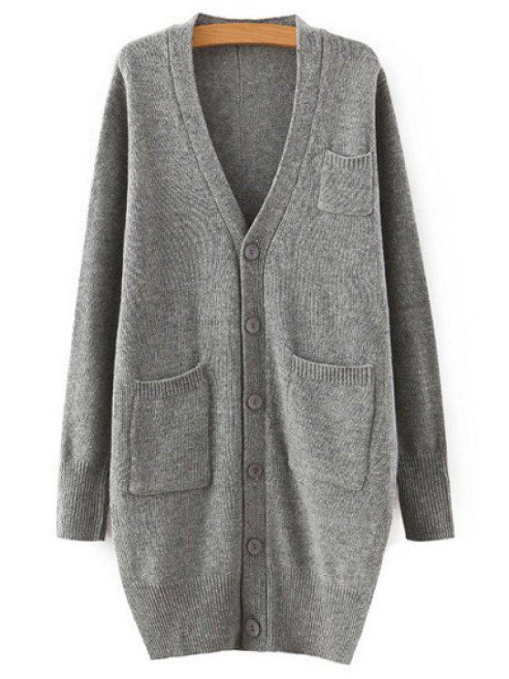 affordable Pure Color Plunging Neck Long Sleeves Cardigan - GRAY ONE SIZE(FIT SIZE XS TO M)