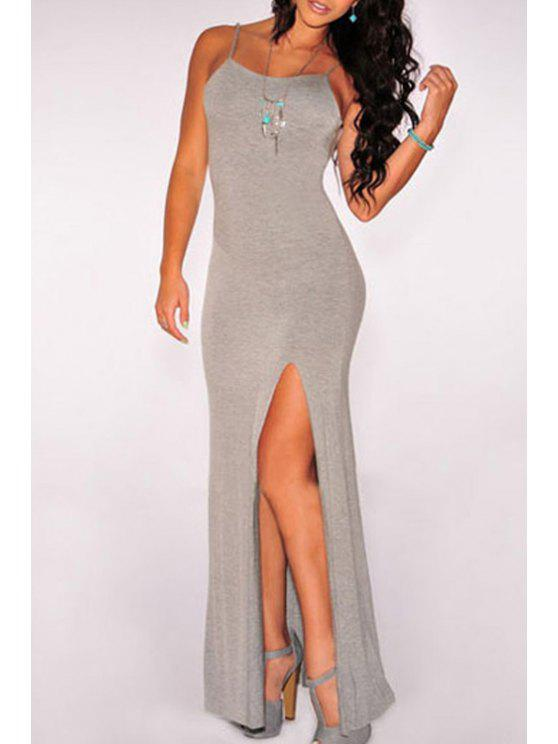 fancy Backless High Slit Maxi Dress - GRAY ONE SIZE(FIT SIZE XS TO M)