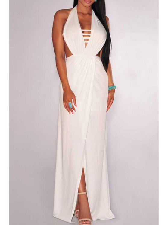unique Plunging Neck Backless Overlap Dress - WHITE ONE SIZE(FIT SIZE XS TO M)