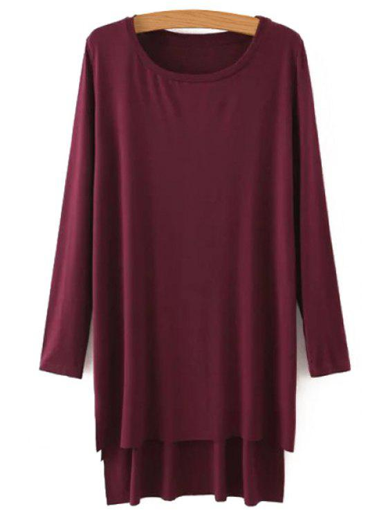 ladies Side Slit Long Sleeves Solid Color Loose Fittng Dress - CLARET S