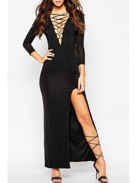 lady Deep V Neck High Slit Maxi Dress - BLACK ONE SIZE(FIT SIZE XS TO M)