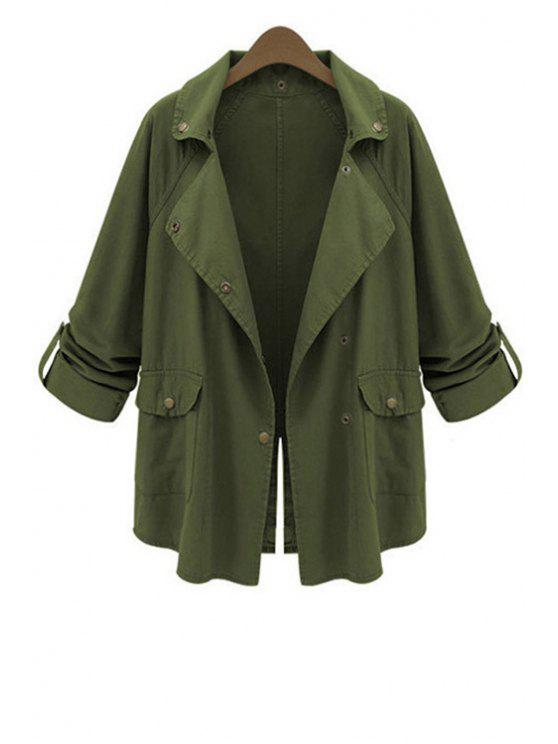 women's Lapel Big Pockets Green Trench Coat - ARMY GREEN XL