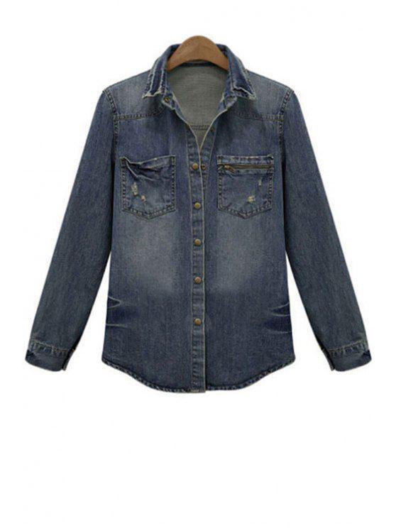 sale Bleach Wash Denim Jacket - DEEP BLUE XL
