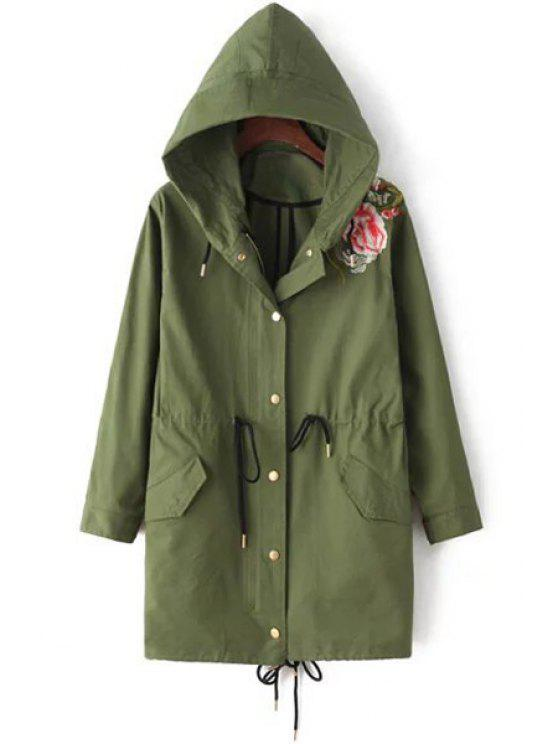 women's Flower Print Hooded Army Green Trench Coat - ARMY GREEN S