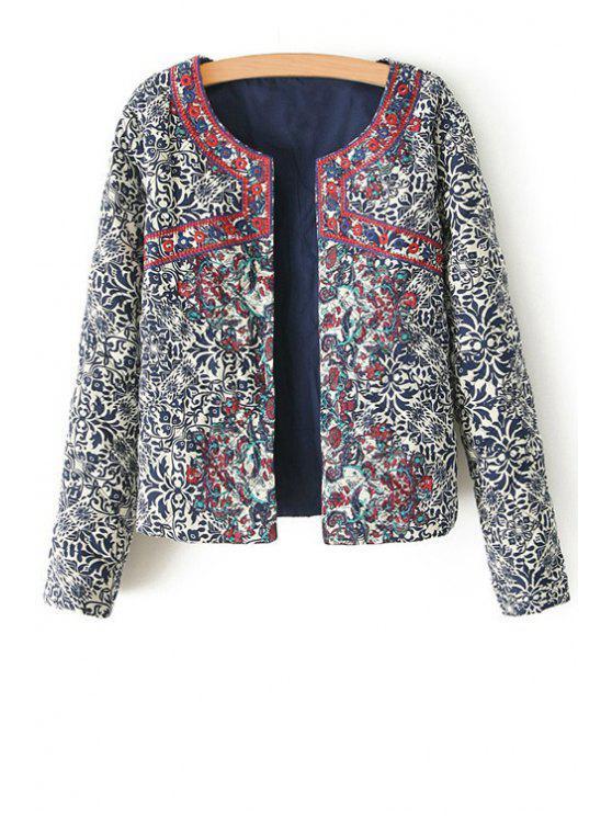 online Ethnic Print Long Sleeves Coat - COLORMIX L