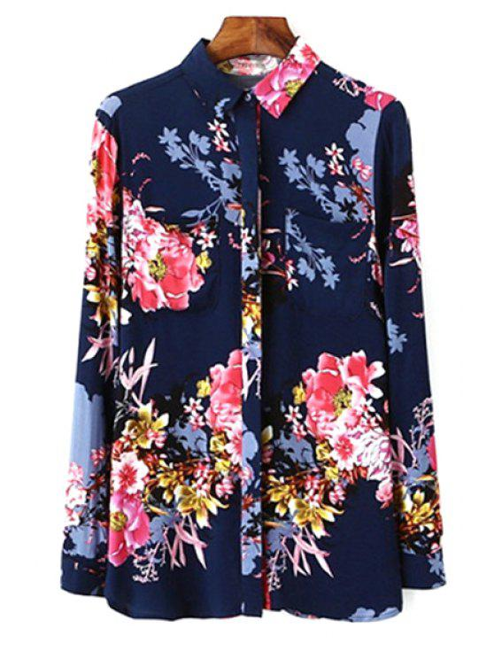 latest Full Floral Shirt Neck Long Sleeve Shirt - COLORMIX S