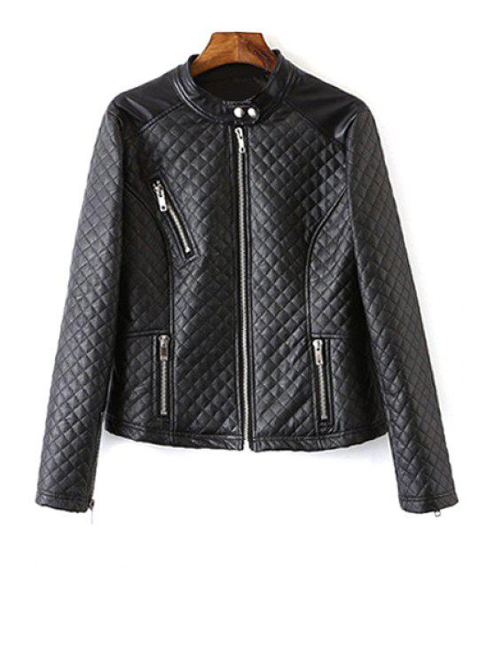 women Black Quilting Stand Neck Long Sleeve Jacket - BLACK S