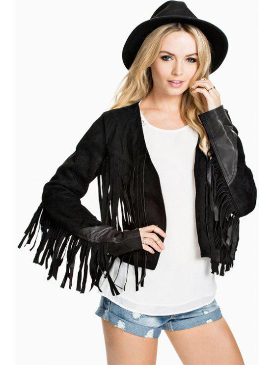 affordable Tassels Suede Cropped Jacket - BLACK XS