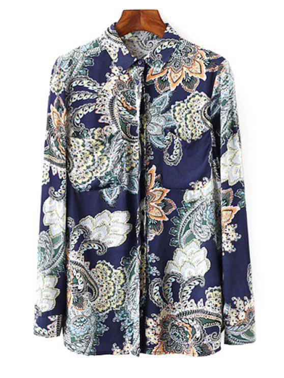 chic Vintage Print Shirt Neck Long Sleeve Shirt - COLORMIX S