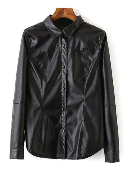sale Black PU Leather Turn Down Collar Shirt - BLACK S