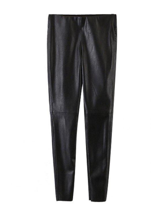 Pantalon de jambe large femme élégant noir en cuir PU - Noir S