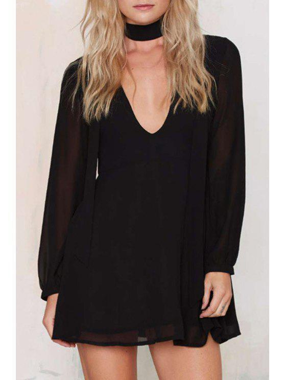 sale Deep V Neck Chiffon Swing Dress - BLACK 2XL