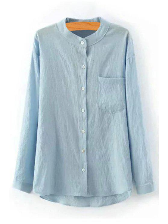 hot Pure Color Stand Neck Long Sleeve Shirt - LIGHT BLUE L