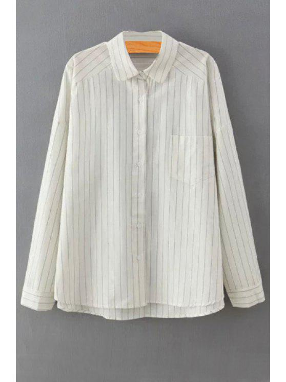 outfit Stripe Turn Down Collar Long Sleeve Shirt - WHITE ONE SIZE(FIT SIZE XS TO M)