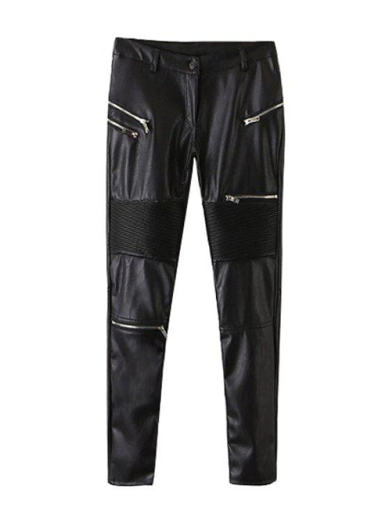 buy Faux Leather Black Skinny Pants - BLACK S