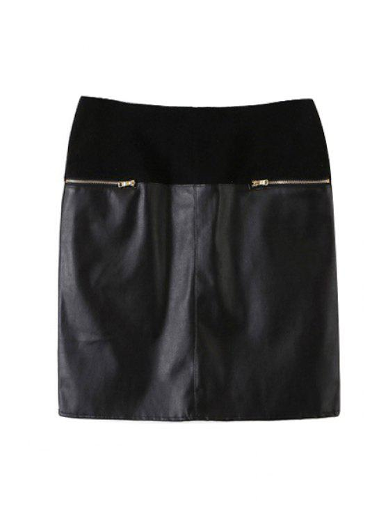 fancy PU Leather Spliced High Waist Skirt - BLACK S